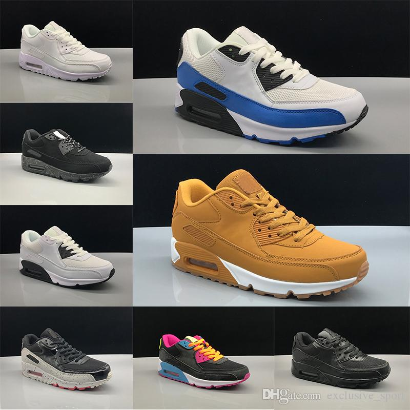 201621db43470 Compre Nike Air Max 90 Airmax The Details Page For More Logo Barato 90  Hombres Mujeres Zapatos Corrientes Triple Negro Blanco Trigo Núcleo Oreo  Deporte Azul ...