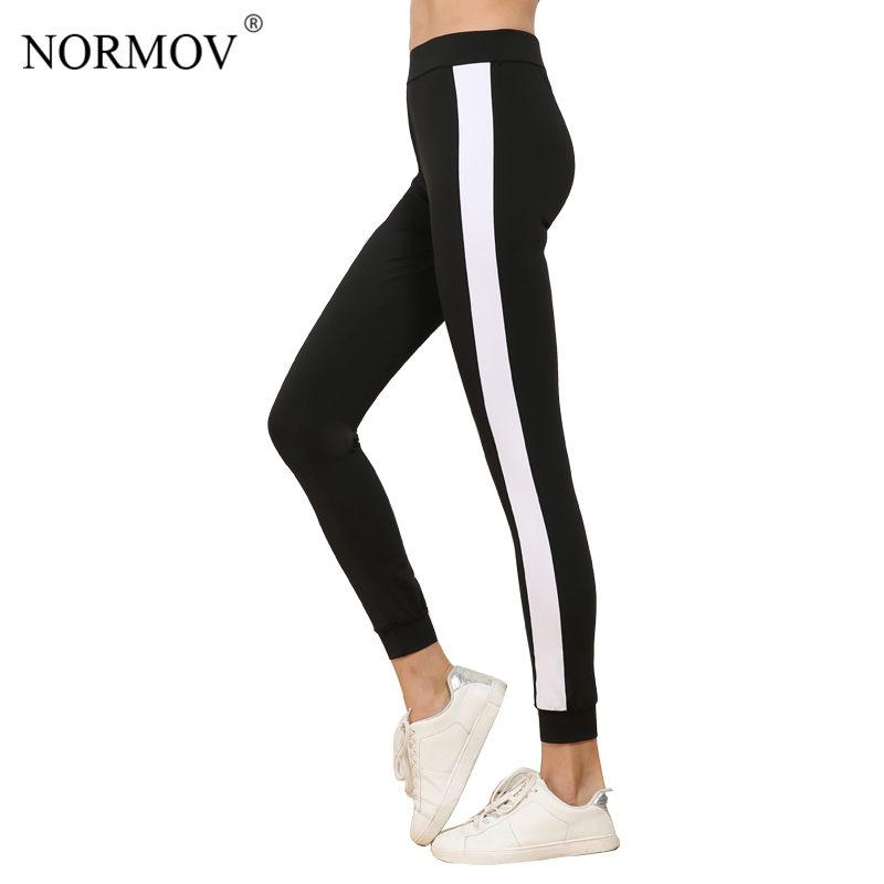 3728fef333c95 NORMOV Women's Side Stripe Legging Pants Fashion Large Size Workout  Polyester Leggings Activewear Black Leggings Women S-XL