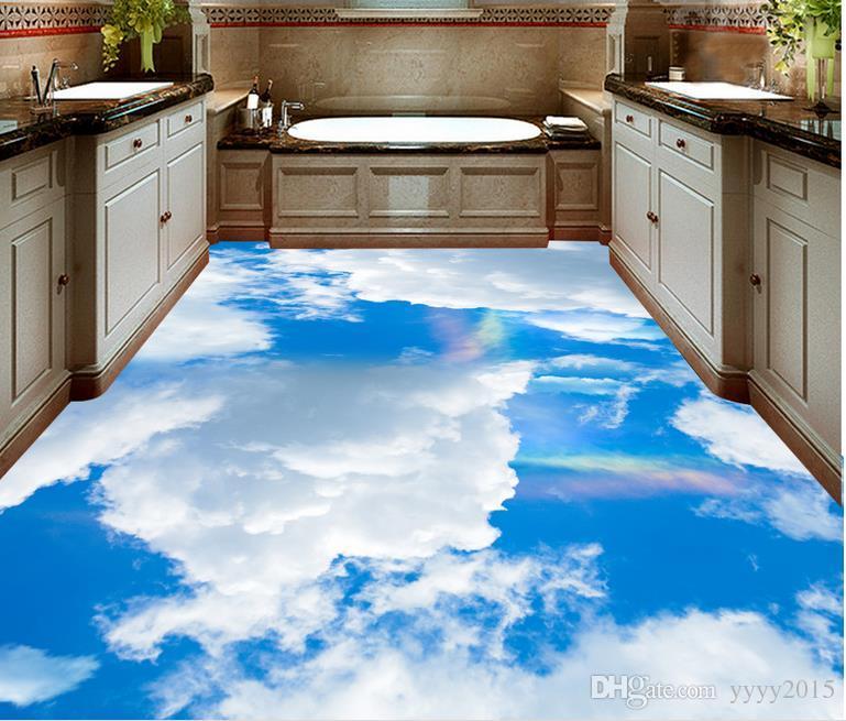 wallpaper children Clouds clouds rainbow 3d floor to floor painting waterproof PVC Wallpaper