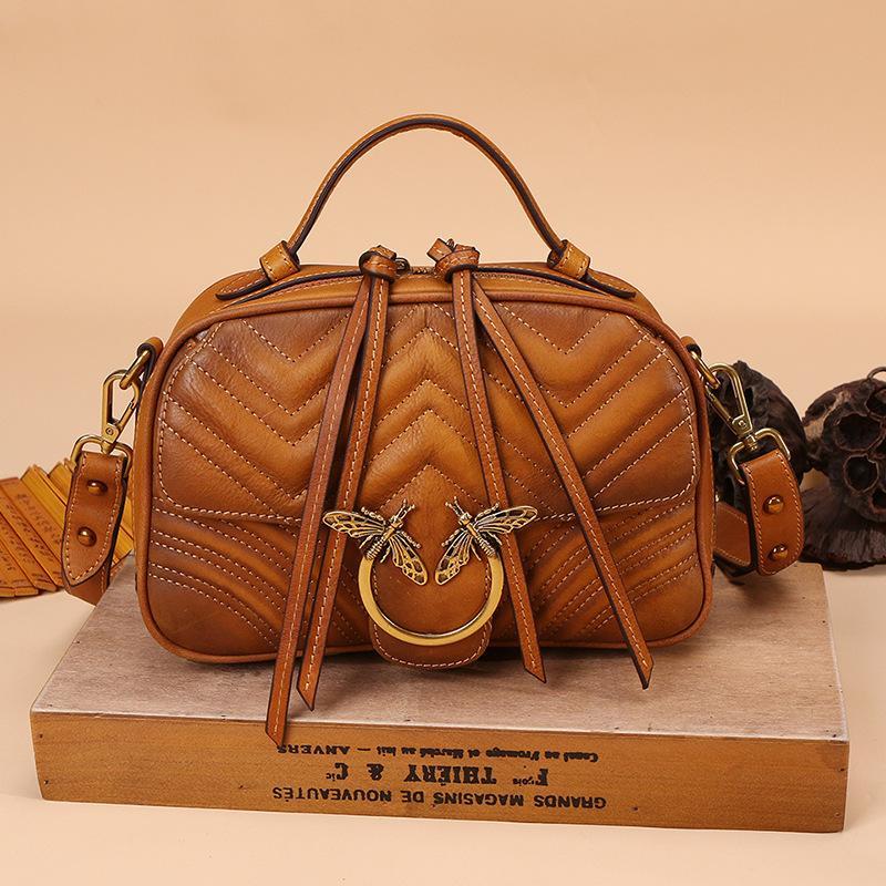 e6783dc9fd50 2018 Luxury Women Genuine Leather Handbags Ladies Retro Elegant Shoulder  Messenger Bag Cow Leather Handmade Woman Crossbody Bags Black Bags  Crossbody Purse ...