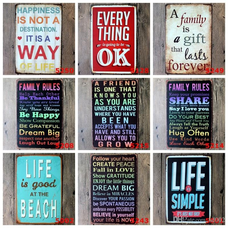 Romantic English Poetry Tin Poster Happiness Is Not A Destination 20*30cm Iron Paintings Follow Your Heart Tin Sign Hot Sale 3 99ljc B