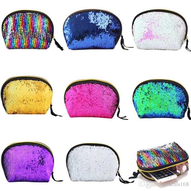 21dedf8b3b Sequins Makeup Bags Flipping Mermaid Cosmetic Bags Glitter Bling ...