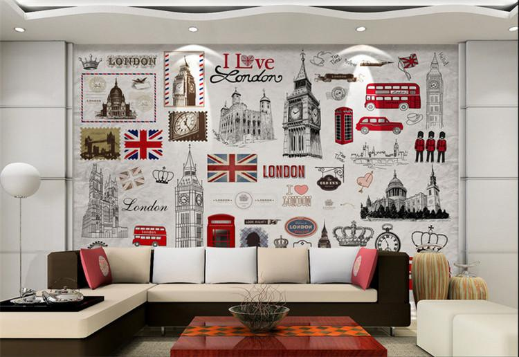 Custom Wall Mural European Retro London 3d Poster Murals Wallpaper