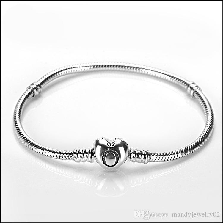 Brand 925 Silver heart clasp Beads 3mm Snake Chain Bracelets Fit European Pandora heart Charms Original Bracelet DIY Fashion Jewelry