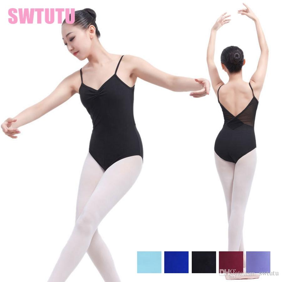 5b91fd3fd 2019 Sexy Women Cami Ballet Women Leotard With Mesh Adult Training Dancewear  Ballet Dance Costume Leotards For Girls From Swtutu, $14.08 | DHgate.Com