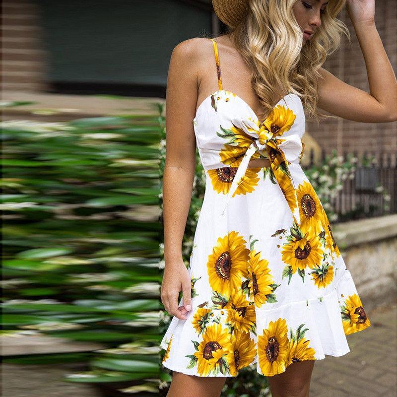f156f1201b608 Fashion Women Boho Casual Strappy Sundress Bandage Swing Beach Sunflower  Print Slim Short Mini Cami Dress