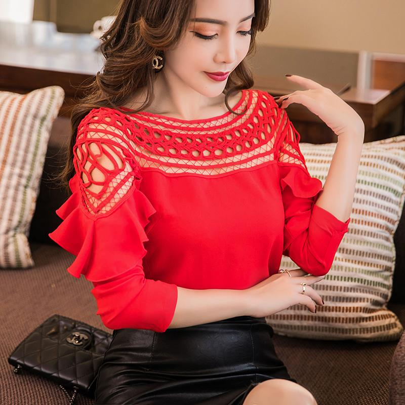 f3fc7af8594036 2019 Black White Red Purple Slash Neck Off Shoulder Tops Openwork Chiffon  Shirt Long Sleeve 2018 Spring Summer Women Fashion Blouse From Huoxiang, ...