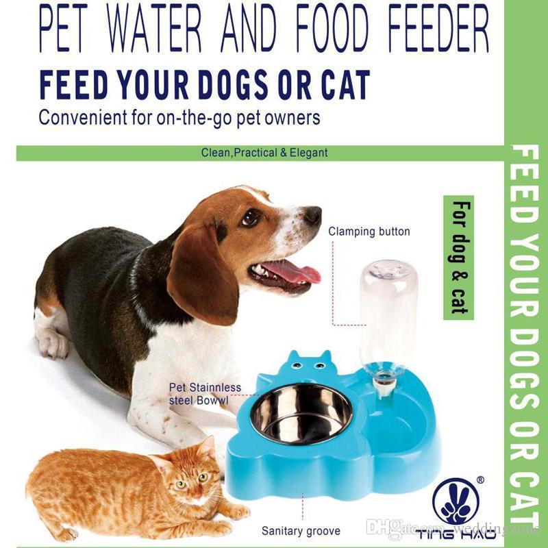 Protable Fonksiyonel Paslanmaz Çelik pet su ve gıda Besleyici Kağıt Perakende paketi ile pet otomatik su kabı