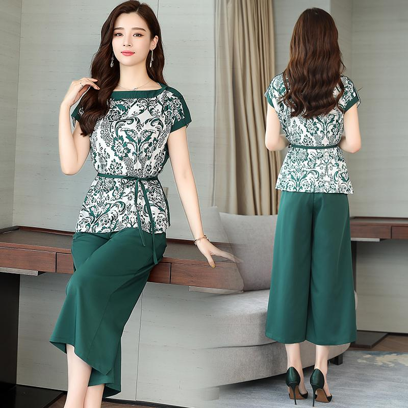 a380070a8f 2019 Green Co Ord Set Women Set Crop Top And Pants Suits Summer Outfit  Print Floral Woman Pants Casual Clothing From Karel, $39.93 | DHgate.Com