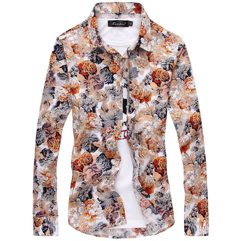 ff894967 2019 2018 Men'S Shirts Retro Floral Printed Man Casual Slim Shirt Fashion Classic  Men Dress Shirt Men'S Long Sleeve Brand Clothing From Hognyeni, ...