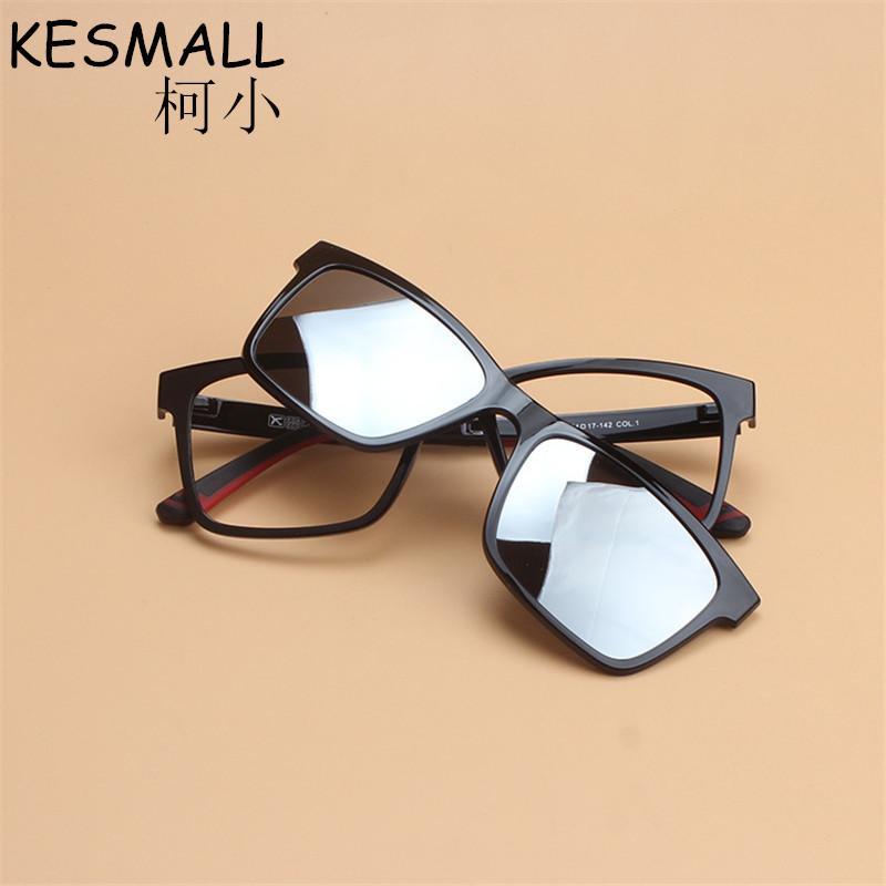 ddd9b55981c9 KESMALL Women Magnetic Clip Glasses Men Driving Clip On Sunglasses  Reflective Coating Lens Magnet Myopia Glasses Frame YJ983 Mens Sunglasses  Police ...