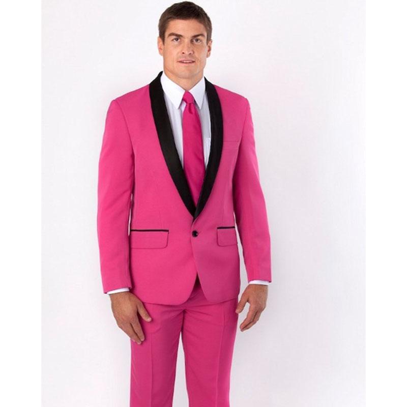 Compre Nuevo Padrino De Boda Chal Negro Solapa Novio Traje De Hombre  Esmoquin Rosa Caliente Trajes Para Hombre Boda Mejor Hombre Chaqueta +  Pantalones + ... b44bf2c78d7