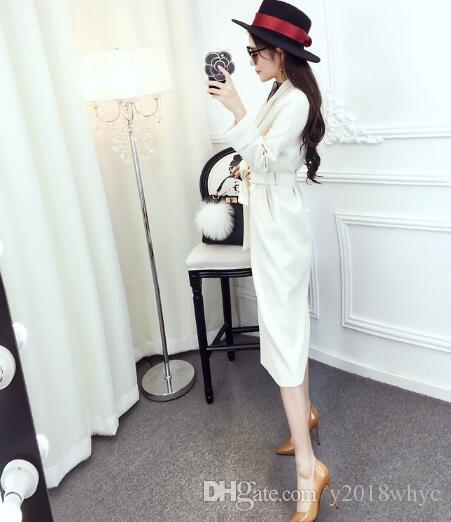 El nuevo temperamento de las mujeres del resorte del collar del traje de manga larga de la capa de la rebeca era delgada sección larga chaqueta Cazadora