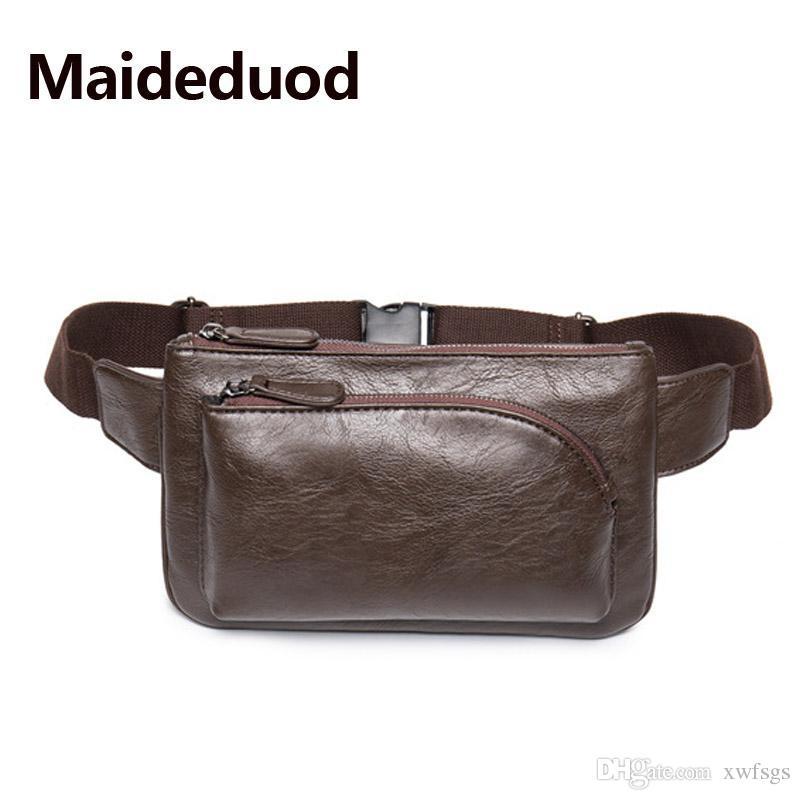 819d01470 Compre Moda Vintage Style Men Leather Belt Bag Brand Designer Men Waist Bag  Hand Bags Caballero Bolsa Cinturón Cinturón Paquete Café Negro 8076 A  $24.74 Del ...