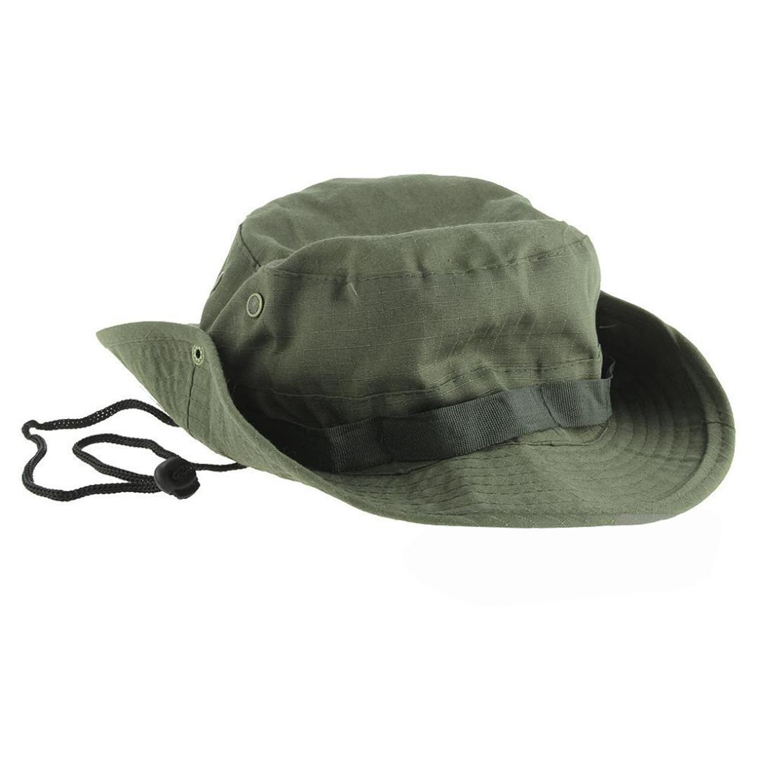 3b7989066 Wide Brim Bucket Hat Hiking Camping Sunshade Hat Army Green Traveling  Fishing Bonnie With Adjustable Straps Mens Sports Caps