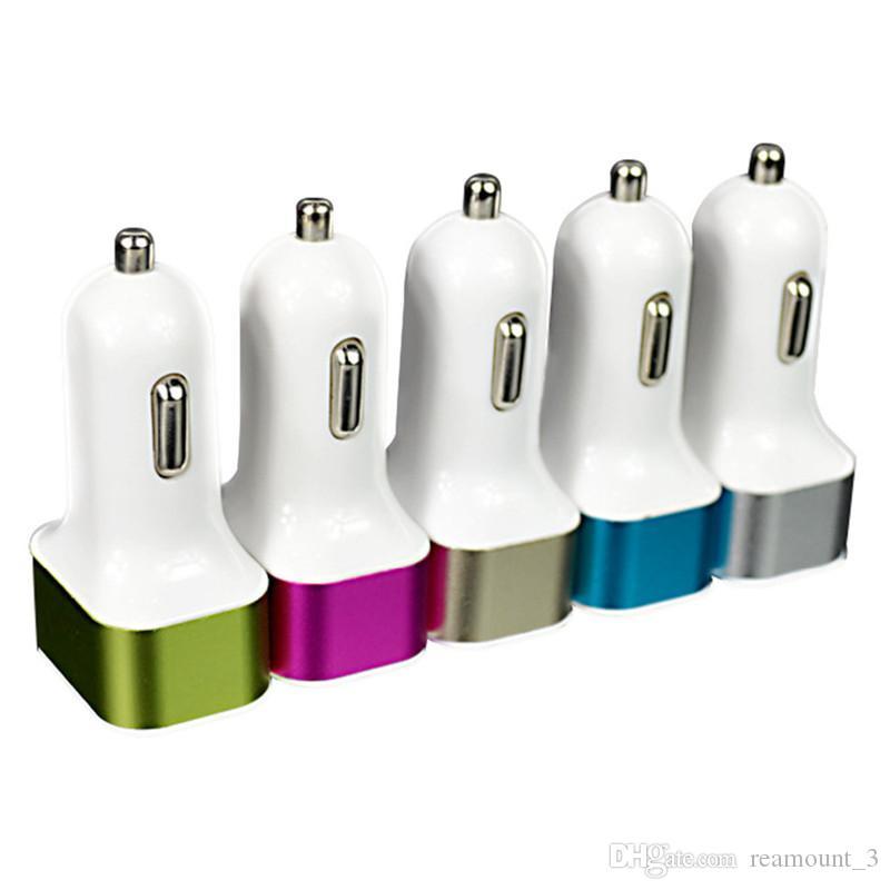 chargeur allume-cigare universel alliage d'aluminium triple ports USB pour adaptateur de voiture Sony LG 3-port pour Tablet PC 2.1A 1A 1A