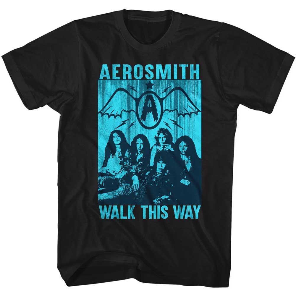 Aerosmith Mens New T-Shirt WALK THIS WAY in 100% Black Cotton in Sizes SM - 5XL
