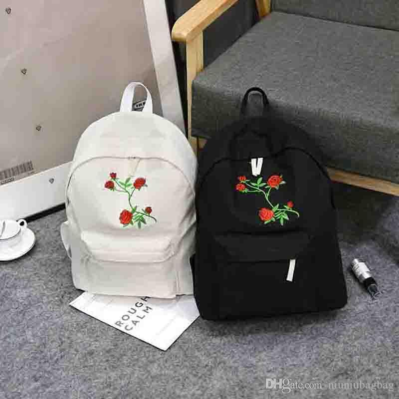 d9dc0da4c2a4 Men Heart Canvas Backpack Women School Bag Backpack Rose Embroidery  Backpacks For Teenagers Women S Travel Bags Mochilas Backpacks For College  Backpacker ...