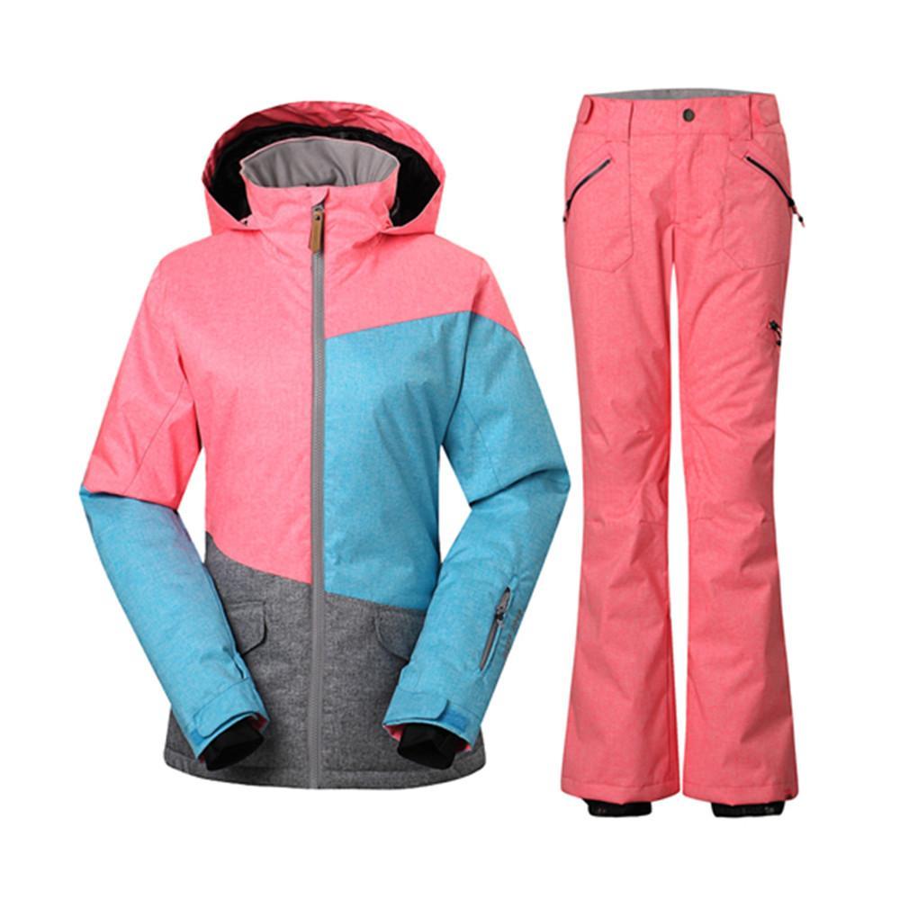 revendeur 3c439 19fb8 GS Combinaison De Ski Femmes Veste De Ski Pantalon De Snowboard Sport D  hiver Montagne Costume De Ski Femme Féminine Costumes De Neige Chaqueta  Nieve