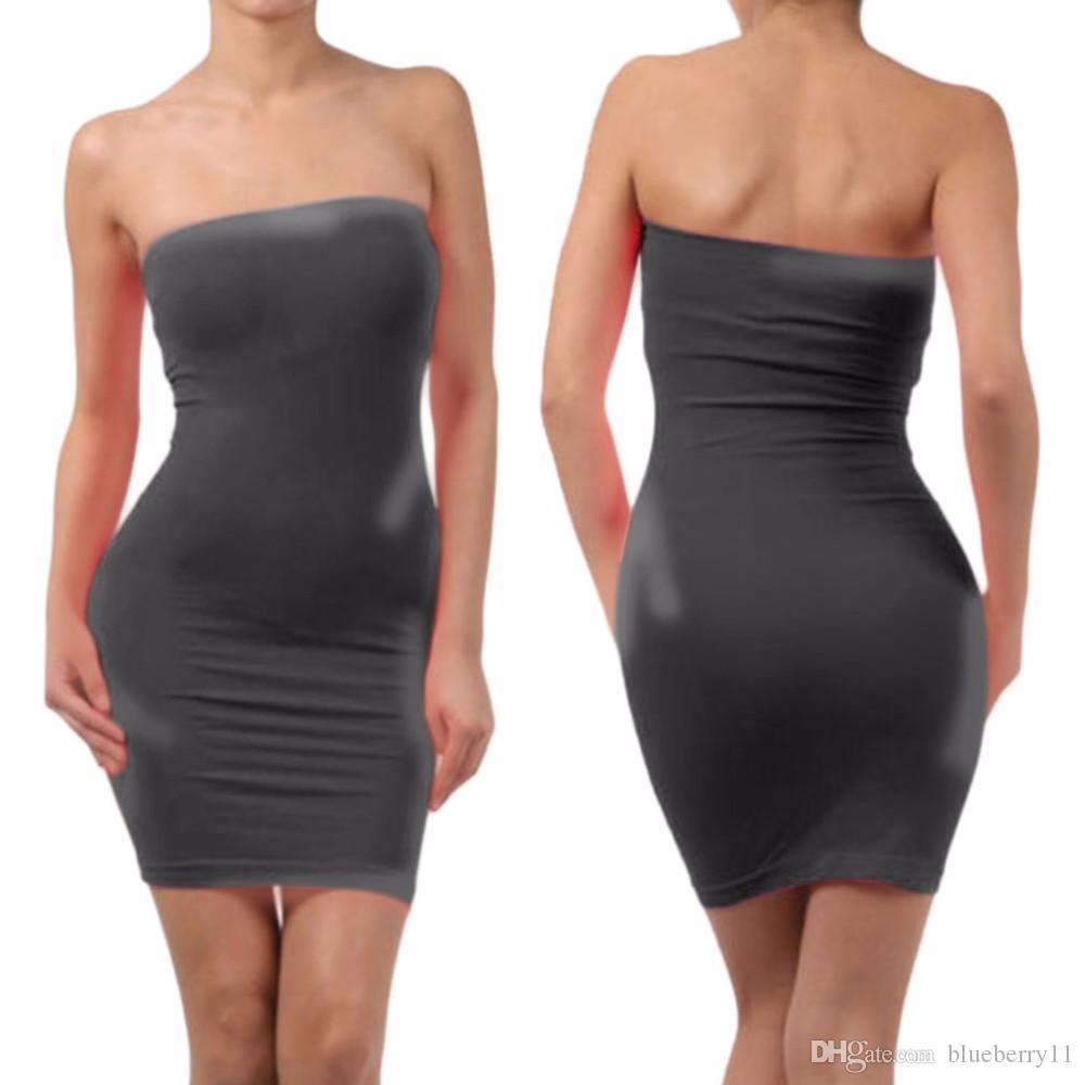 10730e91a218 2019 Women Sexy Seamless Strapless Dress Off The Shoulder Slim Dress  Stretch Tight Party Club Dress Bodycon Elastic Tube Mini From Blueberry11