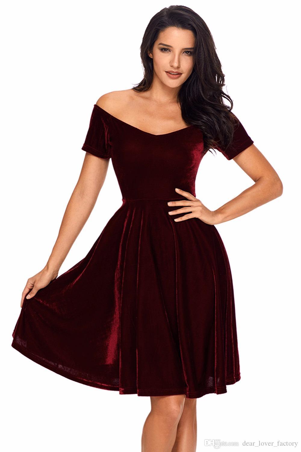 e7f7aad214 2018 Velvet Dresses Sexy Womens Party Vestidos de Festa Off Shoulder  Burgundy Pleated Midi Dress Robe Velours Dresses