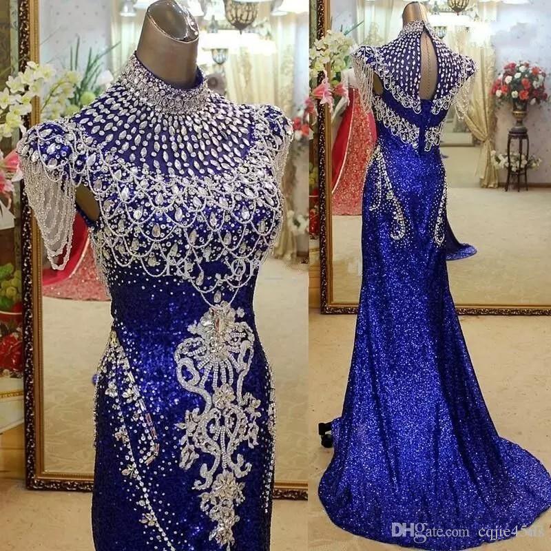 2020 vestidos de partido SexyRoyal azul de cuello alto noche de la sirena elegante de cristal de las mujeres con lentejuelas reales Fotos alfombra roja de la celebridad vestidos formales