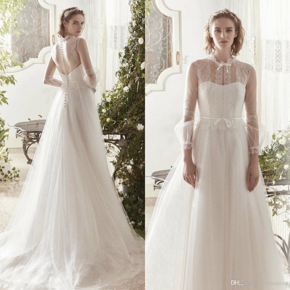 Simple Wedding Dresses with Button