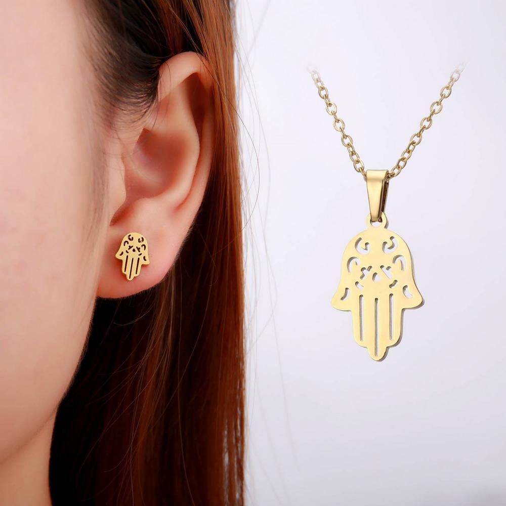 Fatima Hamsa Hand Pendant Necklaces Earrings stainless steel For Women Trendy Wedding Jewelry Set