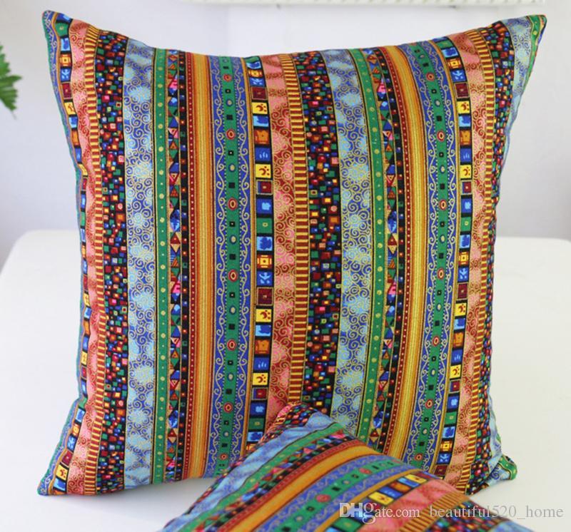 مربع نمط العرقية الديكور المخدة الأزياء مزرعة ويغطي وسادة أريكة وسادة ويغطي مقهى رمي وسادة الشام BH18018
