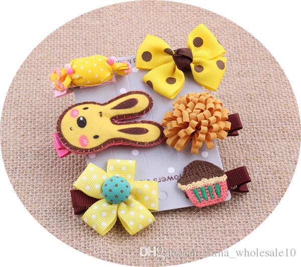 Cute Pet Hairpin Set Cartoon Bows Hairpins Hair Clips For Dogs Teddy Yorkshire Pet Grooming Accessories