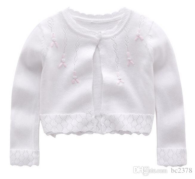 e97a86fb037d Baby Floral Sweater Flower Girl Cardigan Shawl Hollow Diamond Edge ...