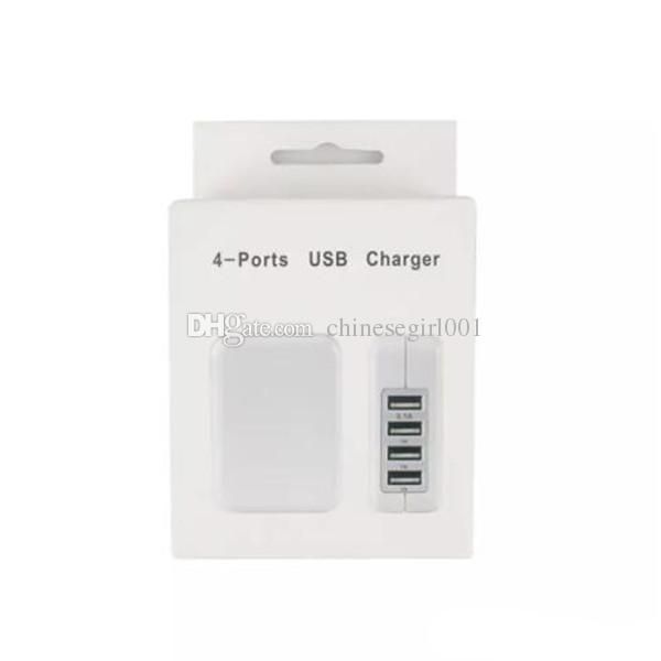 5v 3.1a 4 porta usb carregador de parede carregador de viagem em casa adaptador de energia para iphone x 6 7 com pacote de varejo