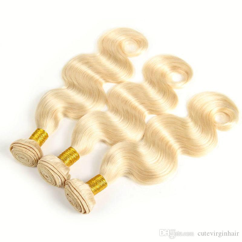 Remy Hair #613 Blonde Hair Wefts 3 Bundle with 13*4 Ear to Ear Lace Frontal Closure Body Wave Brazilian Virgin Human Hair Weaves