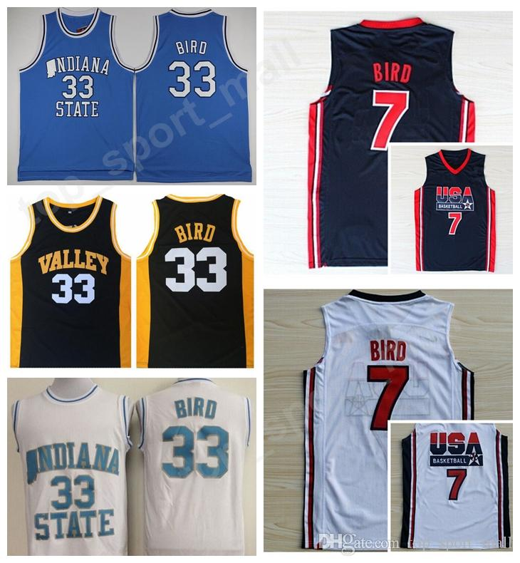 e25f3d46ece Indiana State Sycamores 33 Larry Bird College Jerseys Springs Valley ...