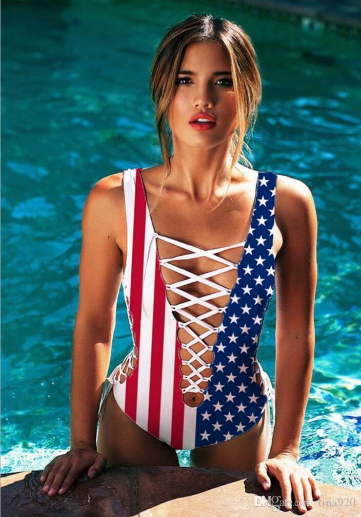 c7715e8e7a 2018 Women Sexy One Piece Swimwear 3d Print Star Rainbow Lace Up Bikini  Swimsuit Floral Bathing Suit Hollow Out American Flag Bodysuit Canada 2019  From ...