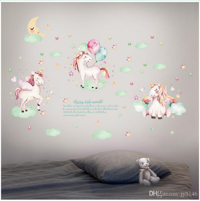Adesivi Da Parete Per Bambini.Cartoon Unicorn Stickers Murali Adesivo Da Parete Per Bambini In Pvc Pvc Rimovibile Wall Art Gift For Daughter Rimovibile