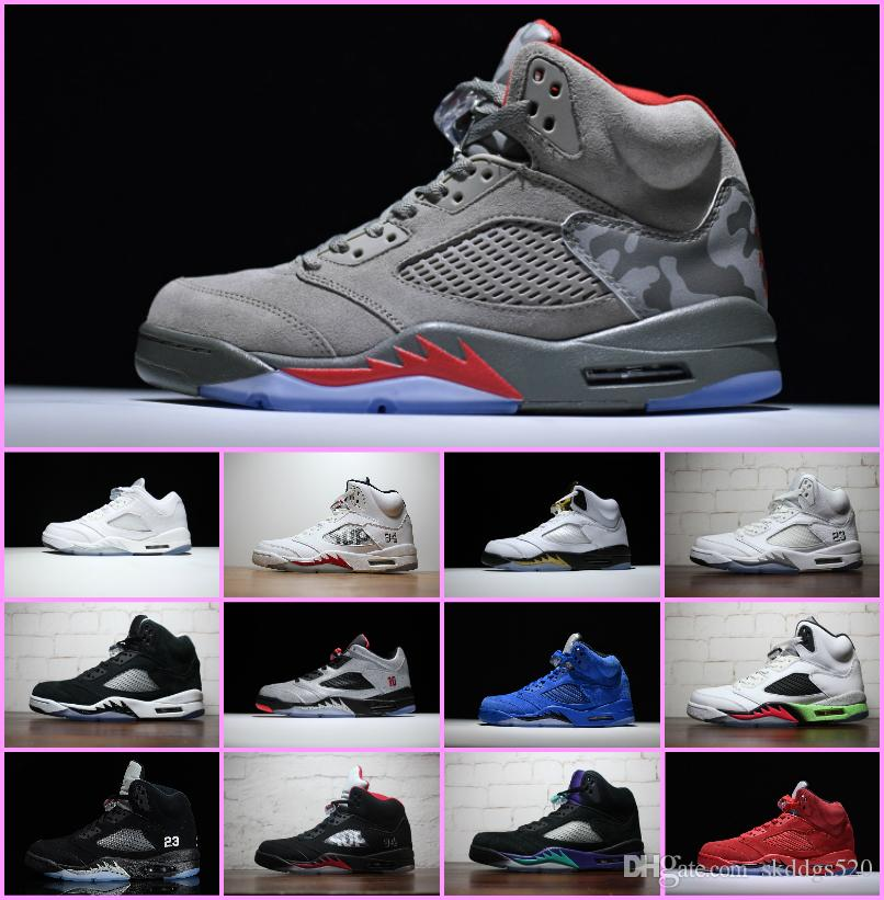 size 40 301ac 4329a 2018 Mens Basketball Shoes 5 5s V Olympic Metallic Gold White Cement Man OG  Black Metallic Red Blue Suede Sport Sneakers Size 7 13 Sports Shoes For  Women ...