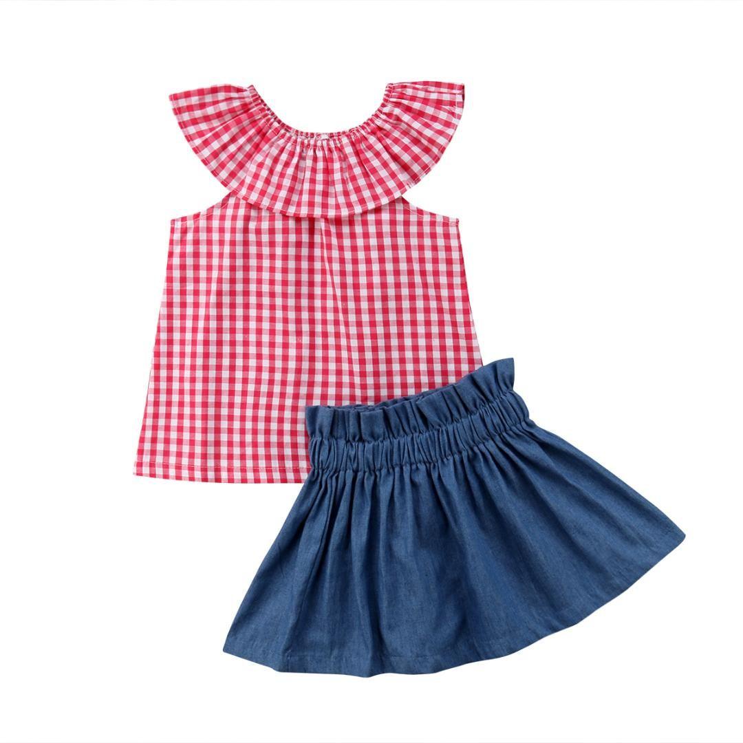 d2b6374d55aec 2018 New Baby Girl Kids Clothes Set Baby Girl Lotus Leaf Collar Checks  Sleeveless Tops Denim Skirt 2Pcs Summer Children Clothing