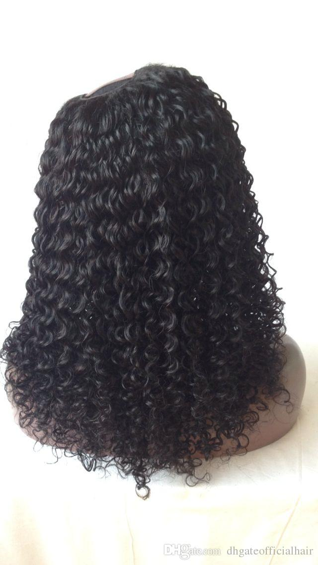 Di alta qualità mongola vergine dei capelli umani ricci crespi 4a 4b 4c parrucca anteriore del merletto dei capelli parrucca piena del merletto parrucca parte u