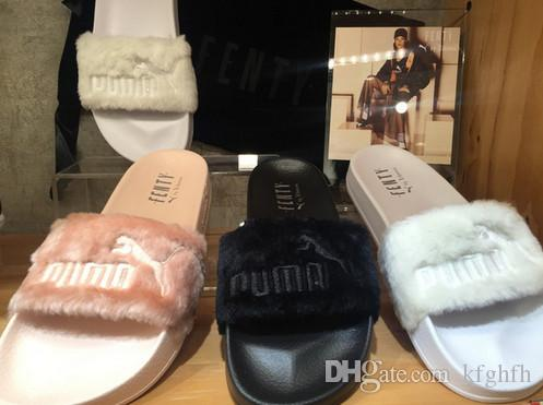 promo code 1a59b c3b94 Hot sale Rihanna Leadcat Fenty Faux Fur Slide Sandal Women grey black red  Fenty Slippers Brand Slide Sandals Fenty Slides designer sandals
