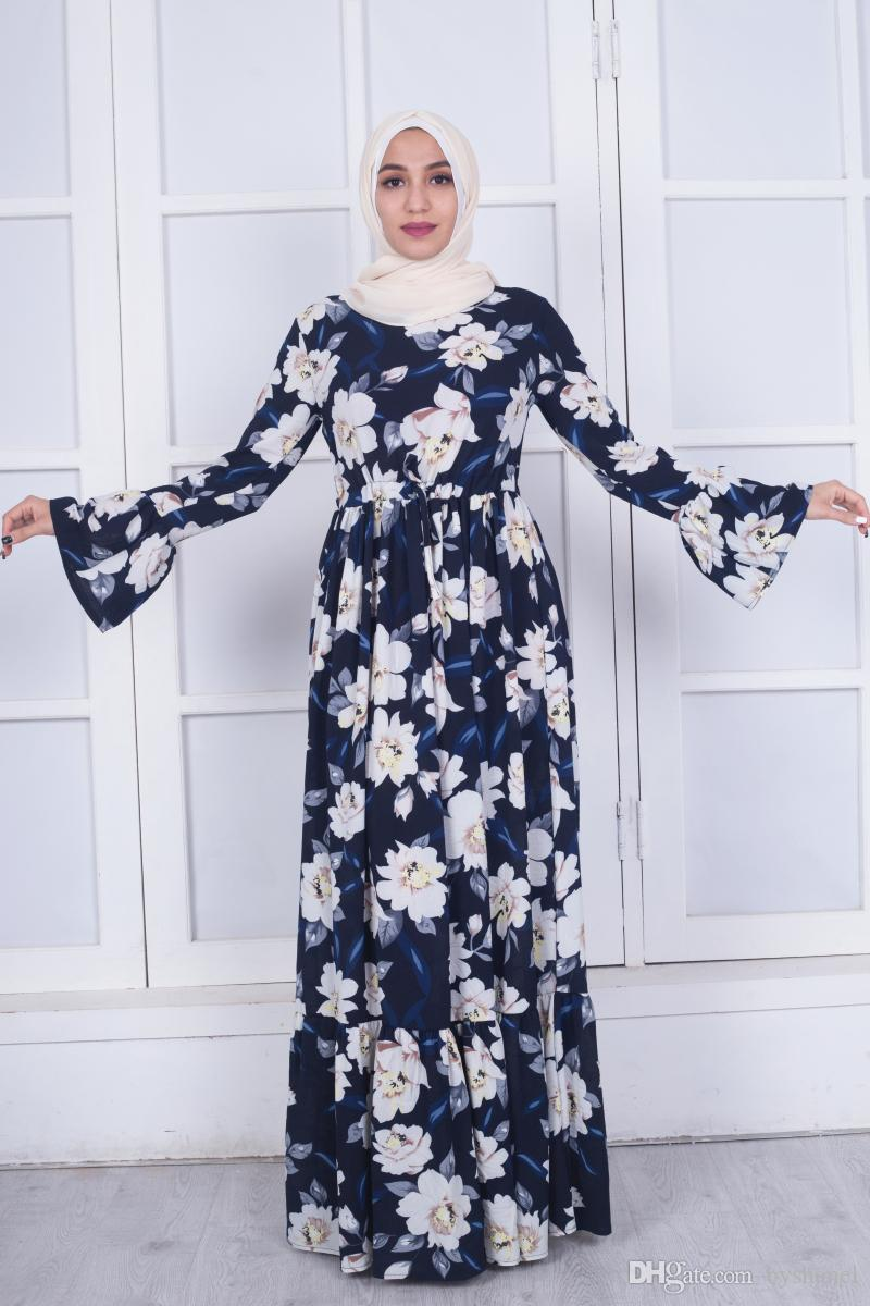 a76b667e19 2019 Muslim Long Sleeve Maxi Abaya Dress Floral Printing Islamic Clothing  Elegant Moroccan Kaftan Robe Turkish Sexy Party Dress Horn Sleeve Desig  From ...