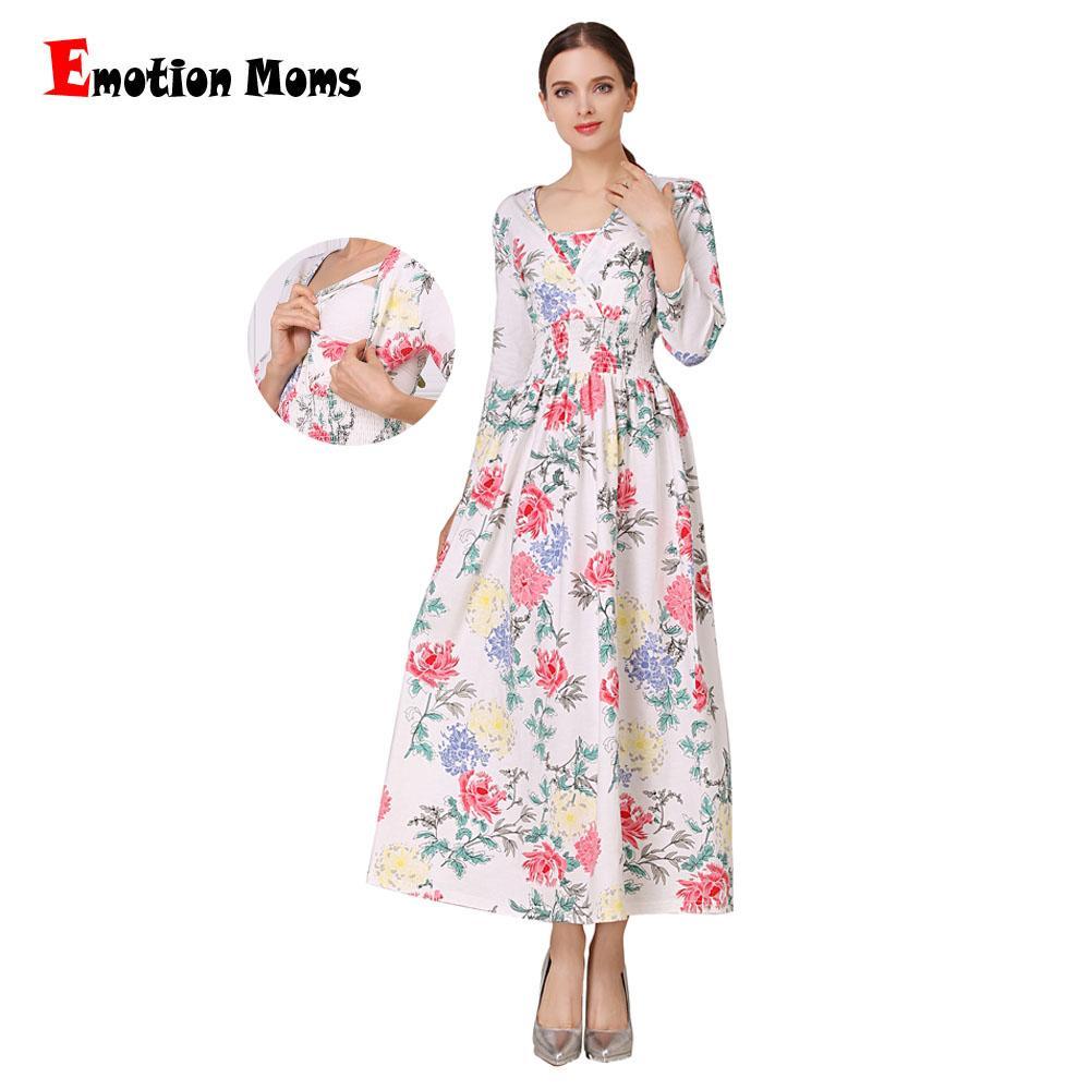 045266cfd Compre Emotion Moms NUEVO Mezcla De Algodón Floral Ropa De Maternidad Para  Mujeres Embarazadas Vestido De Lactancia Vestidos Largos Para Amamantar A   89.88 ...