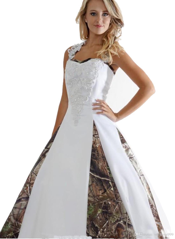 فساتين زفاف جديدة كامو مع يزين الكرة بثوب طويل التمويه الزفاف حزب اللباس زائد الحجم أثواب الزفاف