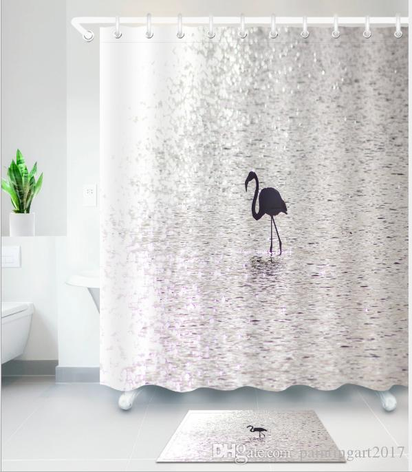 2018 Hot Silver Flamingo Shower Curtain Washable Bath Decor Polyester Fabric Cute Animal Print Bathroom From Paintingart2017