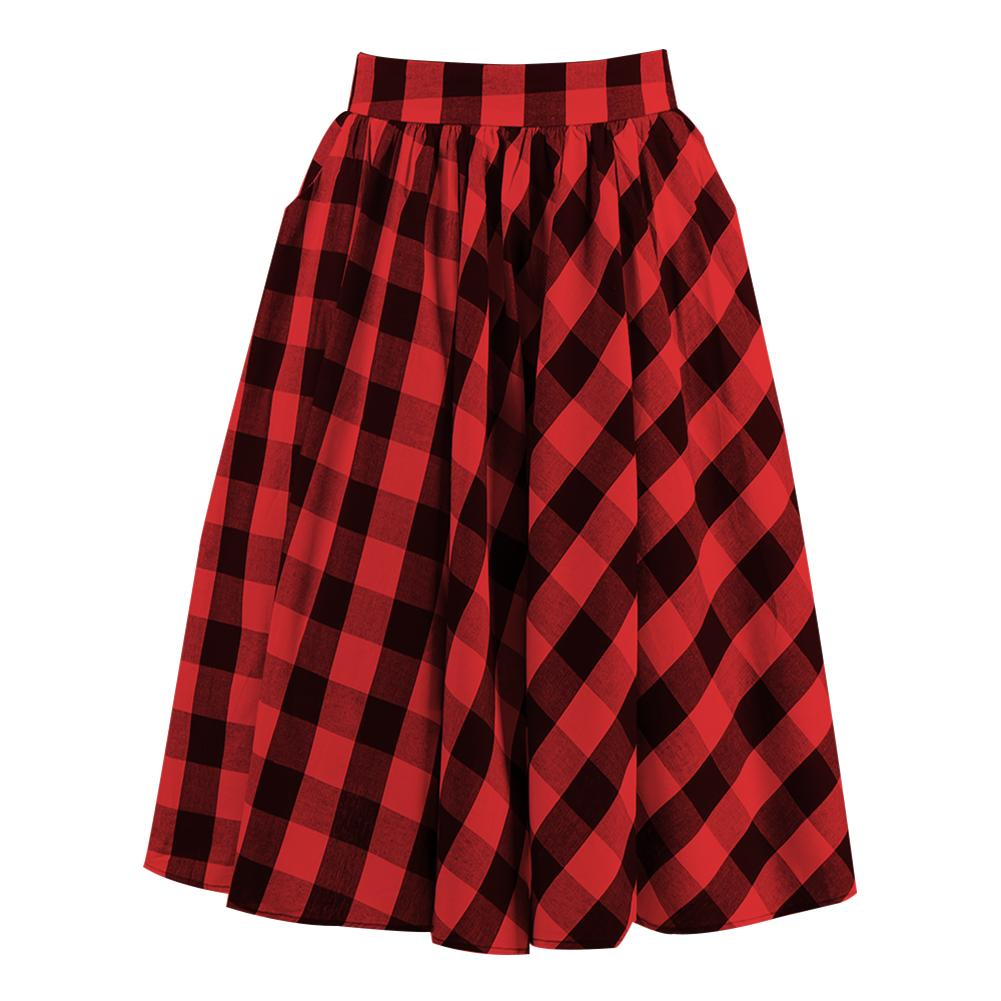 f647b770565 2019 Red And Black Plaid Skirt Retro With High Waist Pin Up Skirt Girls  Flannel Skirt From Smoothdealer