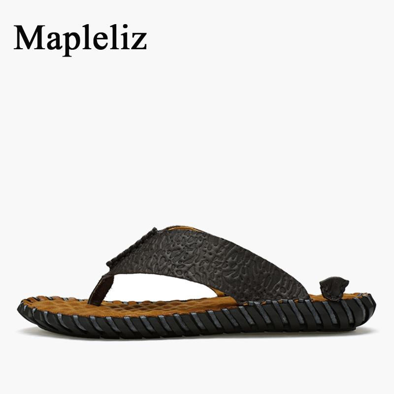 549f110cb Mapleliz Brand Summer Men Flip Flops Handmade Genuine Leather High Quality  Casual Male Beach Shoes Leisure Flat Men Sandals Shoes Uk Flat Sandals From  ...