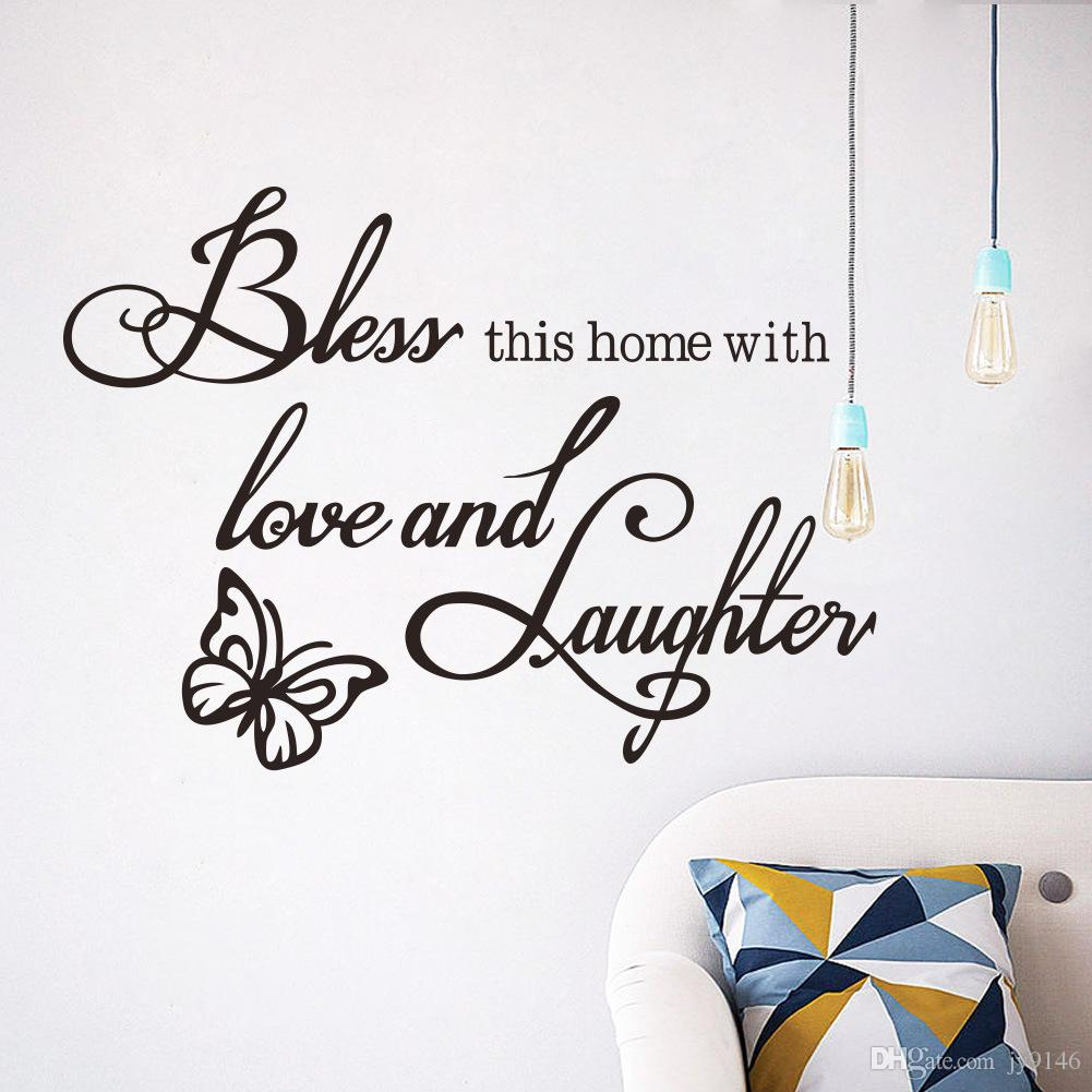 Family Wall Stickers Quotes Vinyl Self-adhesive Love Wall Art Decals for Living Room Bedroom Decoration Butterfly Wall Stickers Removable