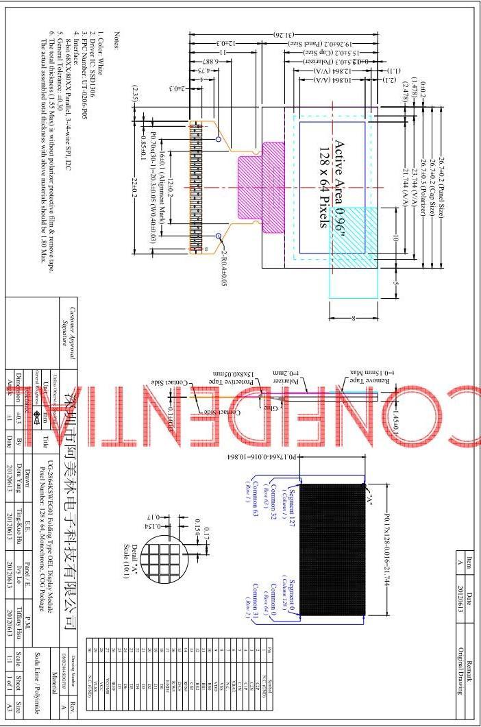 módulo de exibição 12864 OLED LCD 0,96 polegadas com Branco Cor de exibição AMOLED ea interface SPI