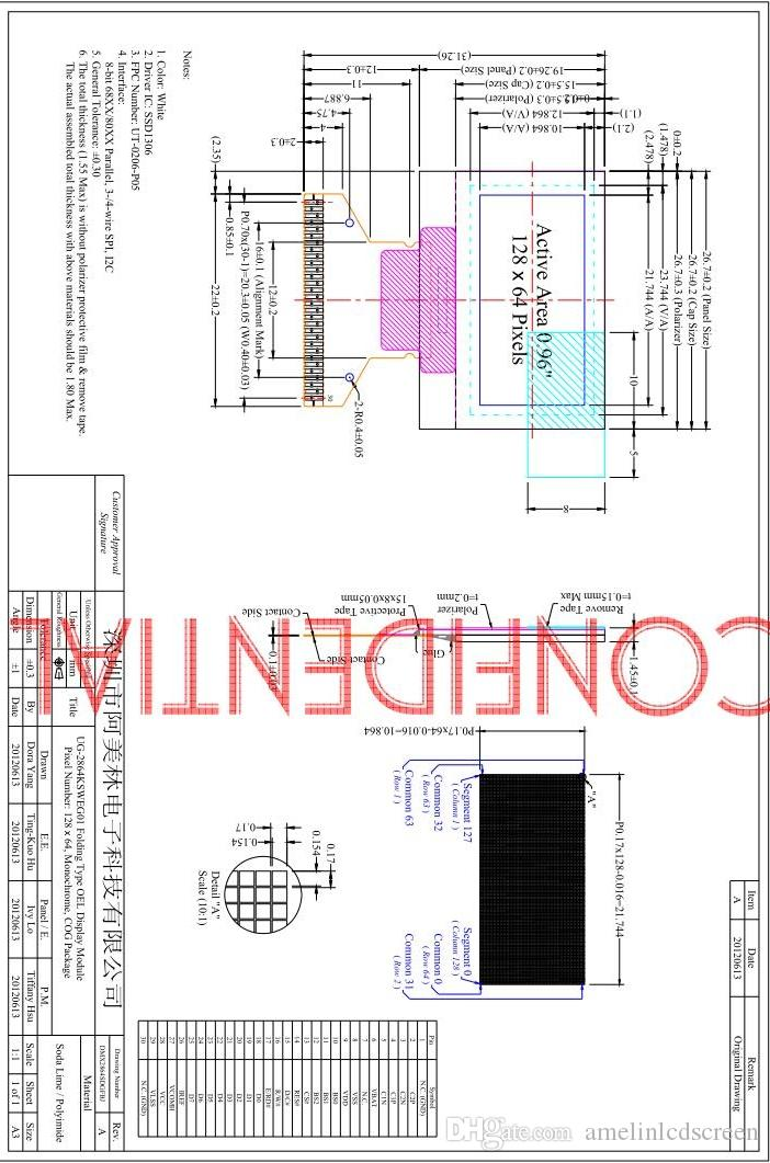 modulo display 12864 OLED LCD 0,96 pollici con Bianco Display a colori AMOLED e interfaccia SPI