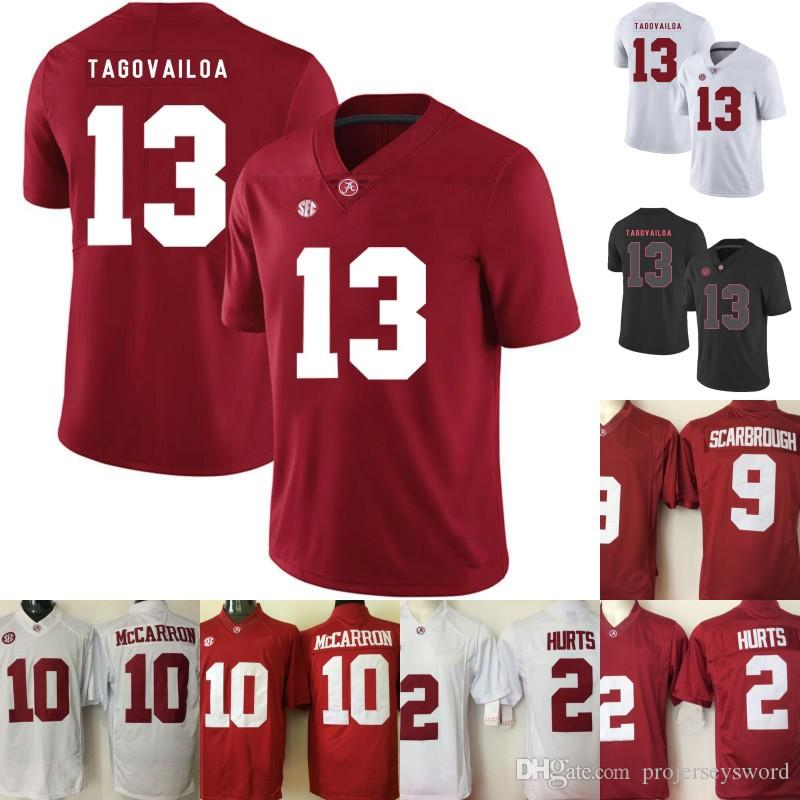 2618f5578 2019 Alabama Crimson Tide Jersey 13 Tua Tagovailoa 2 Jalen Hurts 3 Ridley  29 Fitzpatrick 9 Bo Scarbrough Men Lady Youth College Football Jerseys From  ...